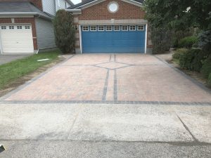 driveway and walkway design with accent tiles